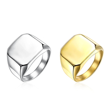 Buy Men Golden Silver Plated Square Titanium Band Stainless Steel Ring alliance mariage anello uomo US Size 7-10 Jewelry Party for $3.84 in AliExpress store