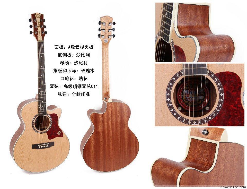 "Free shipping,Finlay 40"" inch Spruce/mahogany folk electric acoustic guitar with 5 band LED pickup tuner,Natural Satin FM 150C(China (Mainland))"
