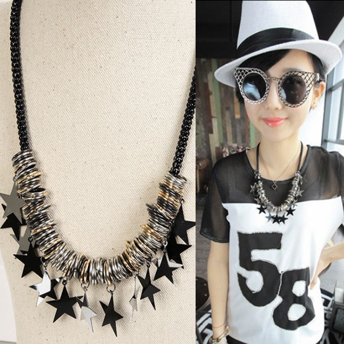 Free shipping 2015 High Quality body chain jewelry black five-pointed star necklace pentagram alloy necklace black jewelry B224(China (Mainland))