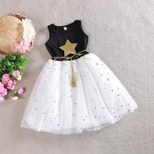 2015 Summer Children Kid Girls One Piece Dress Stars Sequins Tulle Bow Dress Tutu Dress Baby Dress