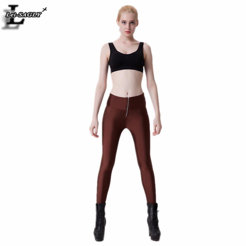 Limited Brown Trousers Women Punk Bodybuilding Elastic Workout Pants Female Popular Brand Leggings Skinny Legging SLgs9024