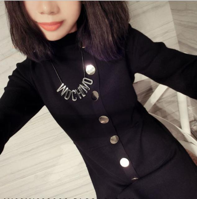 OMH Clothing black fashion novelty A row of buttons Autumn winter girls & women's Pure color Long sleeve above knee Dresses FZ44(China (Mainland))