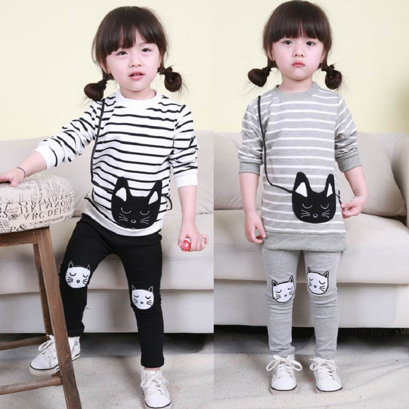 2015 Baby Girl Striped Clothing Sets Autumn &amp; Spring Brand Children Sport Suits Hoodie + Pants Cartoon Cat Kids Twinsets, HC481<br><br>Aliexpress
