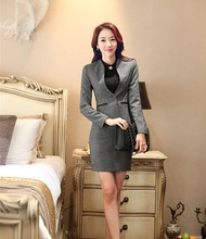 Plus Size 4XL Formal Uniform Style 2015 Autumn Winter Professional Business Women Work Wear Suits Blazer And Skirt Work Sets