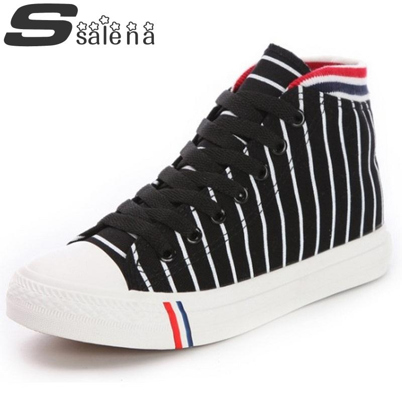 New Women Casual Shoes Striped High Top Canvas Shoes Spring Autumn Breathable Thick Crust Platform Shoes #B1678