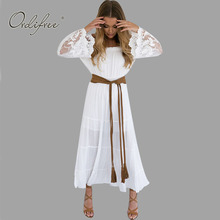 Buy 2017 Summer Sundress Long Women White Beach Dress Strapless Long Sleeve Loose Sexy Shoulder Lace Boho Cotton Maxi Dress for $18.24 in AliExpress store