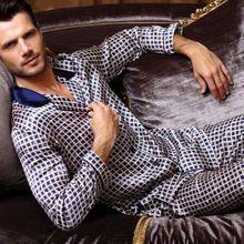 Luxury Mens Silk Satin Pajamas Pajama Pyjamas PJS Sleepwear Set  U.S.S,M,L,XL Long Sleeves Blue(China (Mainland))