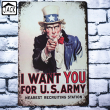 Uncle Sam I WANT YOU FOR U.S. ARMY 20X30CM Vintage Plates Metal Tin Signs Wall Decor Garage Club Barn Parlor Bedroom Plaques(China (Mainland))