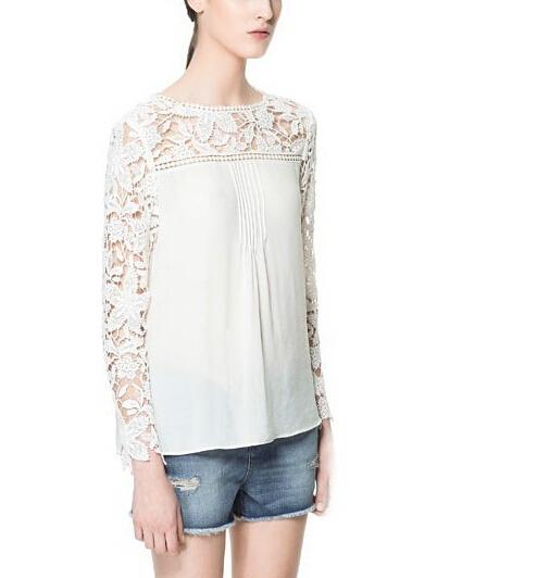 Women elegant sexy Lace sleeve chiffon blouse vintage shirt hollow out knitted shoulder tops Blusa De Rendas 4 colors S-XL ST747