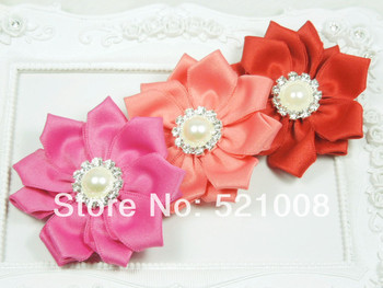 """2.5"""" Satin Ribbon Flower with Pearl Button Boutique Appliques DIY wedding craft flower for brooch Baby Girls Flowers 36pcs/lot"""