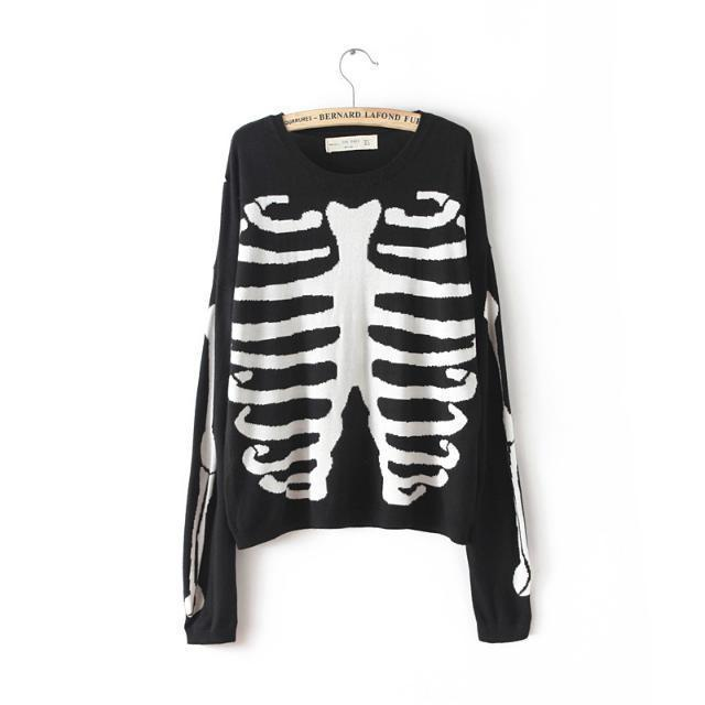 Casual Knitted Sweaters 2015 Women Fashion Autumn Winter Skull Skeleton Pattern Women Sweaters & Pullovers Jumper LS1063(China (Mainland))