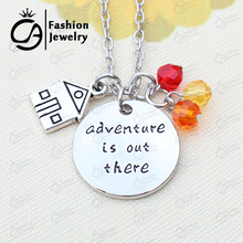 Up Movies House Balloons Beadwork Flying dreams Adventure is out there Charms Necklace Christmas Gift Jewelry 20Pcs/Lot #LN1228(China (Mainland))