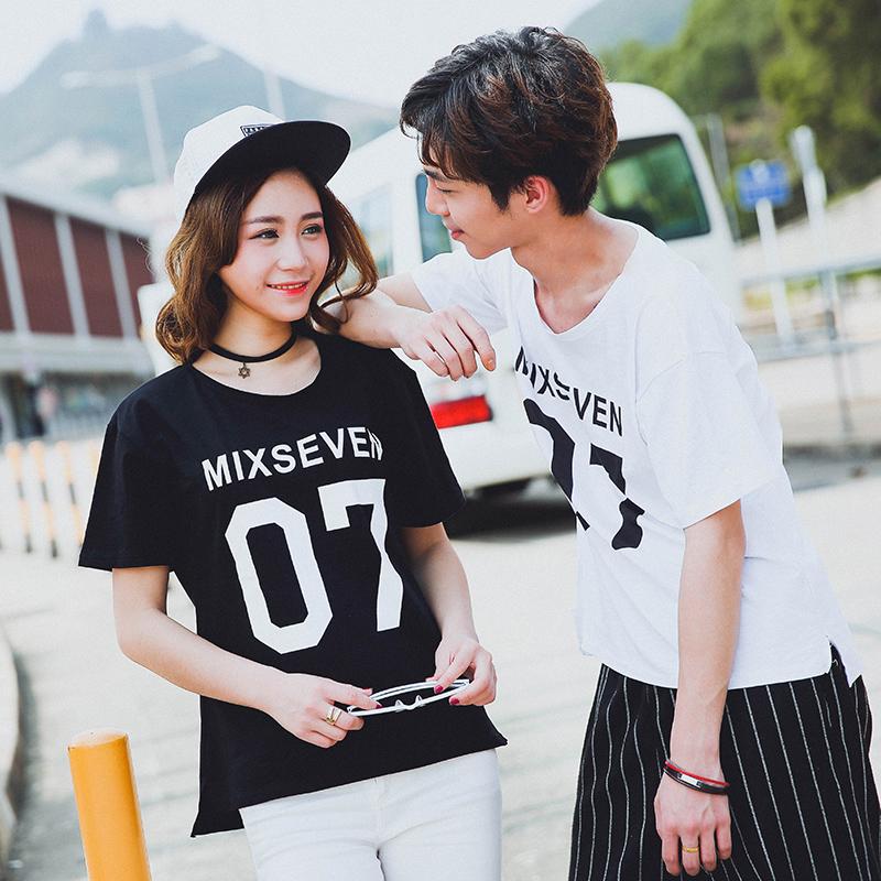Harajuku Letter 7 print t shirt women/men Couples tshirt 2016 summer short sleeve loose tee shirt femme black white tops