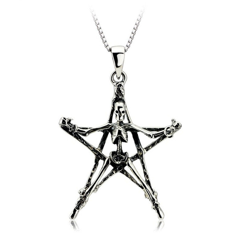 Christmas Gift Men Jewelry AAA 100% Silver 925 Pendant Necklace Thai Silver Classic Skeleton Necklaces & Pendants(China (Mainland))