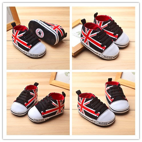 2015 New Brand Fashion Classic Baby Shoes Toddler Shoes Black Union Jack Shoe For 0-18 Months Hook& Loop Free Shipping ST013(China (Mainland))