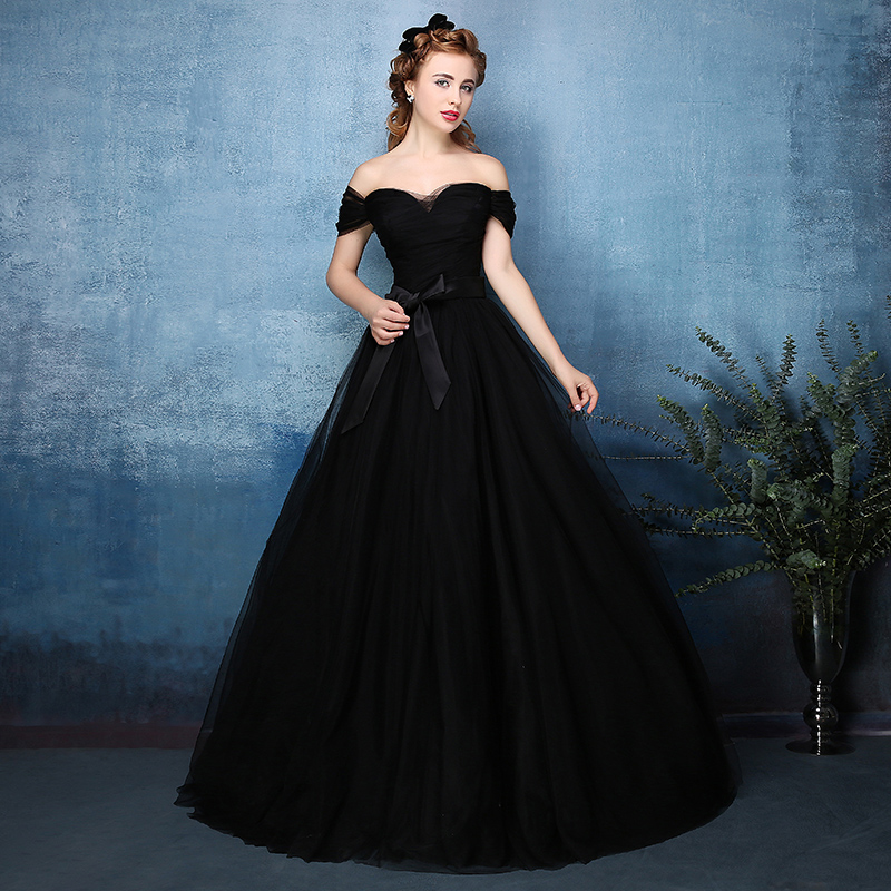 2016 vintage gothic black tulle ball gown non white for Vintage off the shoulder wedding dresses