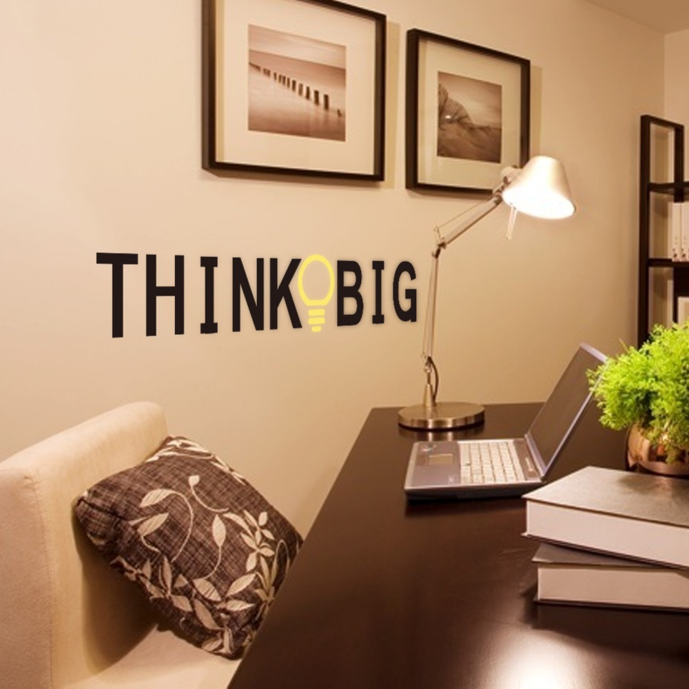 Free shipping 1 set Creative Wall sticker Quotes Think Big vinyl Wall Sticker Qu