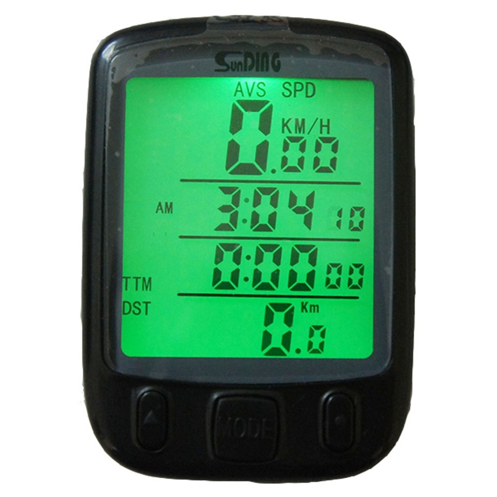 SunDing Bicycle Computer Cycle Stopwatch Backlight Lcd Display Bike Speedometer with Battery Waterproof Odometer Tacho(China (Mainland))