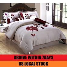 US Stock! Homehug 7Pc Polyester Short Brushed Comforter Set Huge Flower Embroidered Pattern Queen Size Color Khaki(China (Mainland))