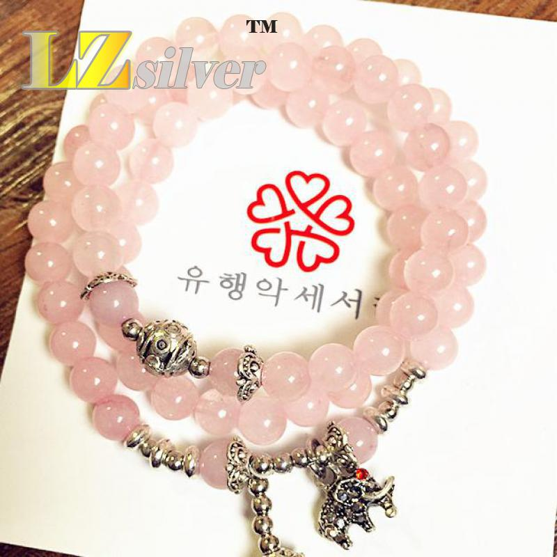 Folk Style Of Pure Natural Barite Powder Lead-free Alloy Multilayer Beaded Bracelet Chain Elephant Ca. 52 Cm(China (Mainland))