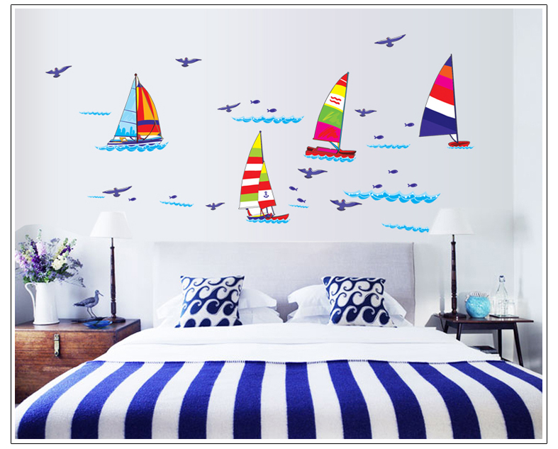 Cartoon Colorful Sailboats Children Room For Boys Bedroom Wall
