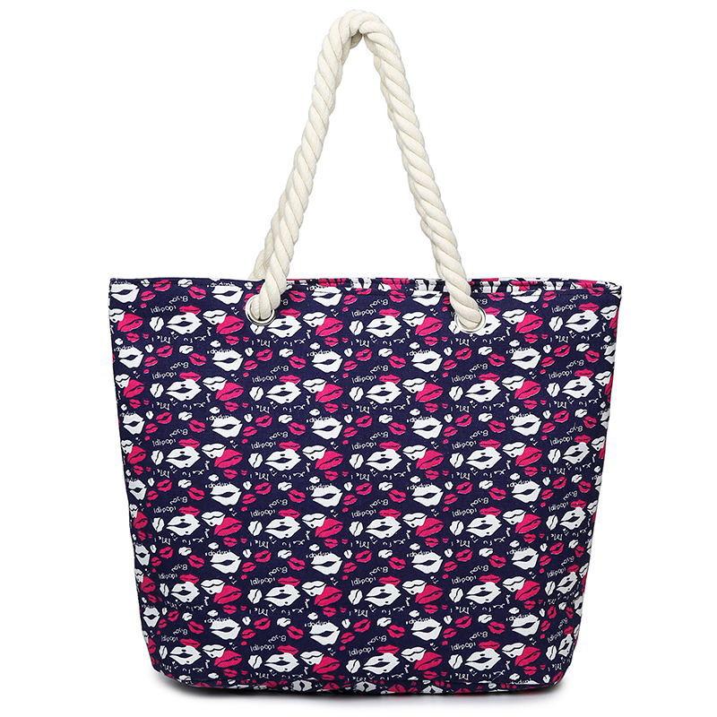 2016 New Arrival Female Canvas Flower Pattern Tote Printing Women Fashion Handbag Canvas Beach Bags For Girls Bolsa Feminina(China (Mainland))