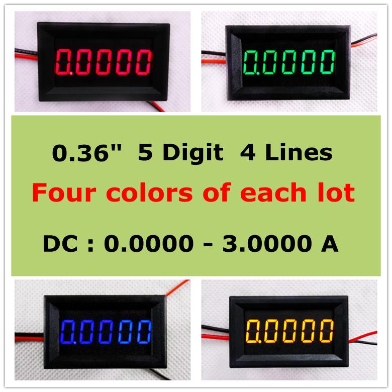 "Four colors of each lot Five digit 0.36"" Digital Ammeter DC 0-3.0000A Five digit Current Panel Meter LED [ 4 pieces / lot](China (Mainland))"
