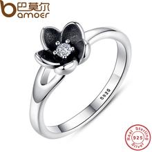 Bamoer 2016 новая коллекция подлинный мистик цветочный цветок стекируемые кольцо cz и черной эмалью стерлингового серебра 925 pa7154(China (Mainland))