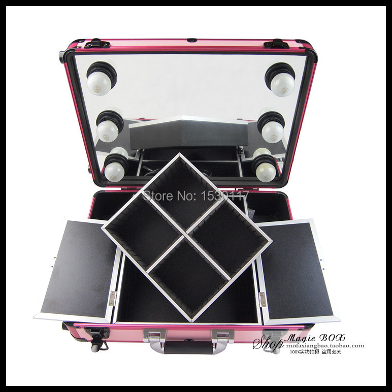 portable makeup case with lights full mirror professional makeup box with removable trolley case. Black Bedroom Furniture Sets. Home Design Ideas
