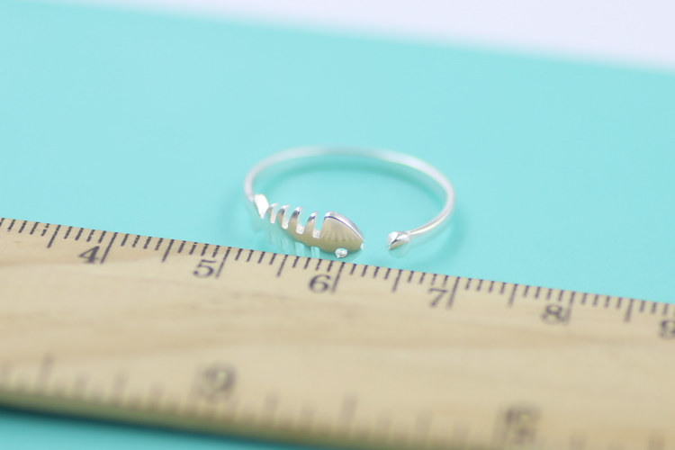 Silver Plated Jewelry Fish Bone Ring Cut Woman Girl Finger ring Open Design 925 engraved(China (Mainland))
