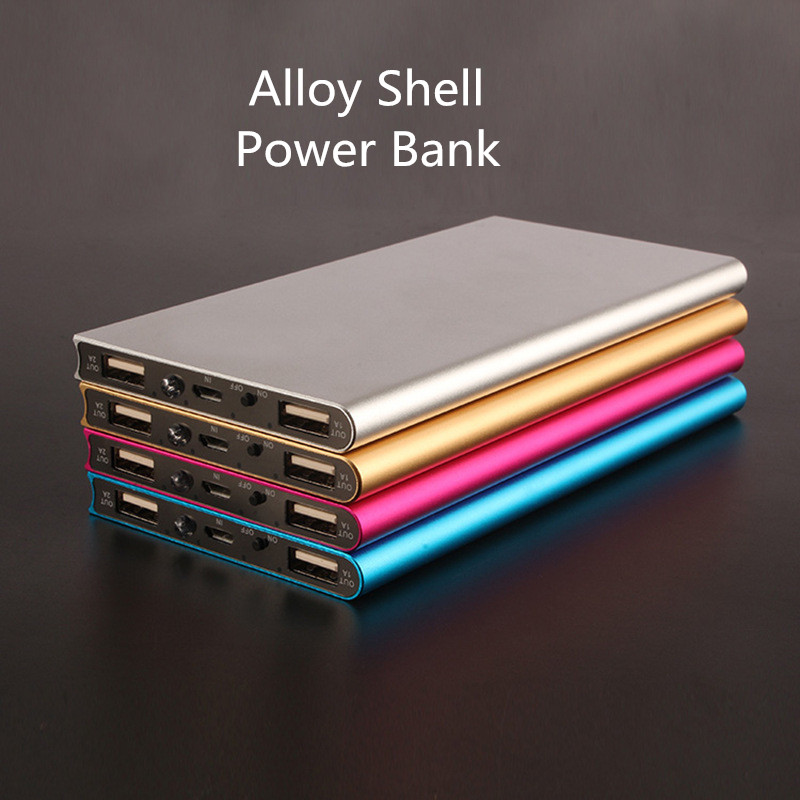 Monochrome Alloy Shell Powerbank LED Lights Dual USB Interface Portable Backup Charger External Battery Pack Free Shipping(China (Mainland))