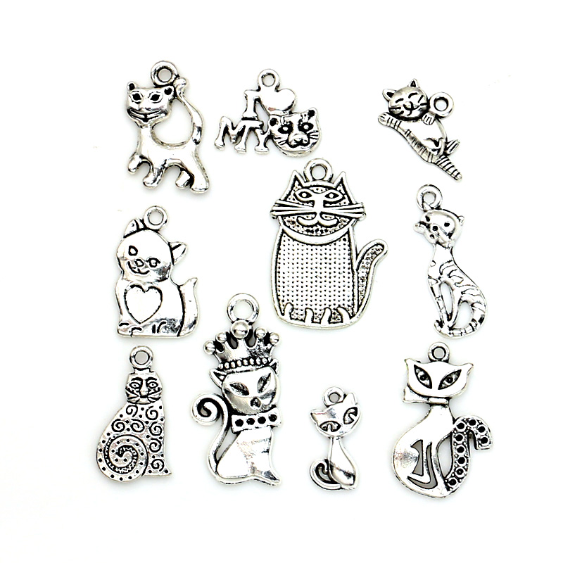 10pcs Mixed Tibetan Silver Plated Cat Soccer Tree of Life Charms Pendants Jewelry Making Accessories Bracelet Handmade Crafts(China (Mainland))