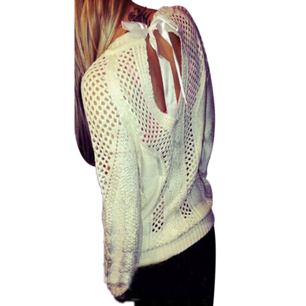 Hot Sale New 2015 Autumn Winter Lady Sweater Small Hollow Halter Straps Sweet Cotton O Neck Sweater Pullover White Size S-3XL(China (Mainland))