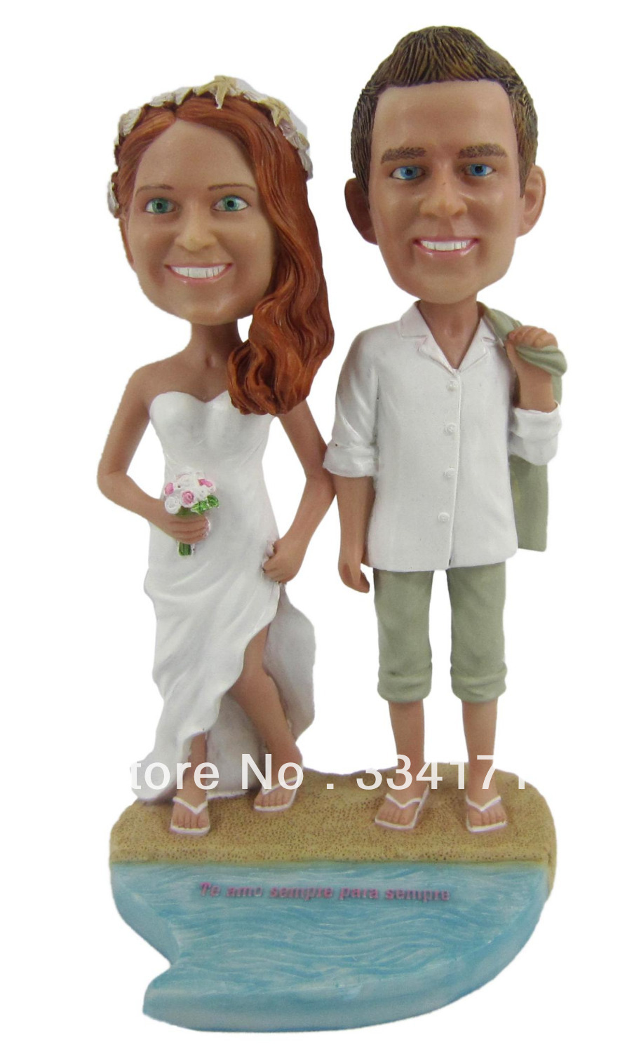 Personalized bobblehead doll beach wedding gift wedding decoration fixed polyresin body + polyresin head Custom doll(China (Mainland))