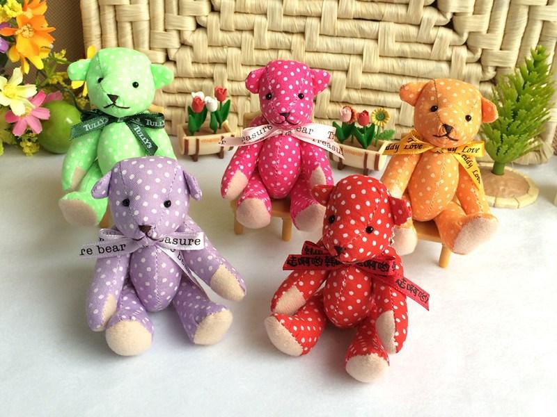10pcs Mini 10 cm plush bear toys soft stuffed bear toys with moved legs as Valentine's gift(China (Mainland))