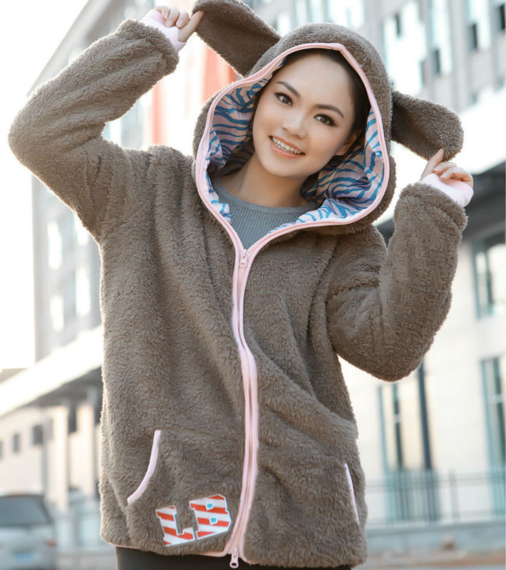 autumn winter, unique lovely bunny ears long style ladies hoodies jacket coat - Loveliness Ladies Fashion store