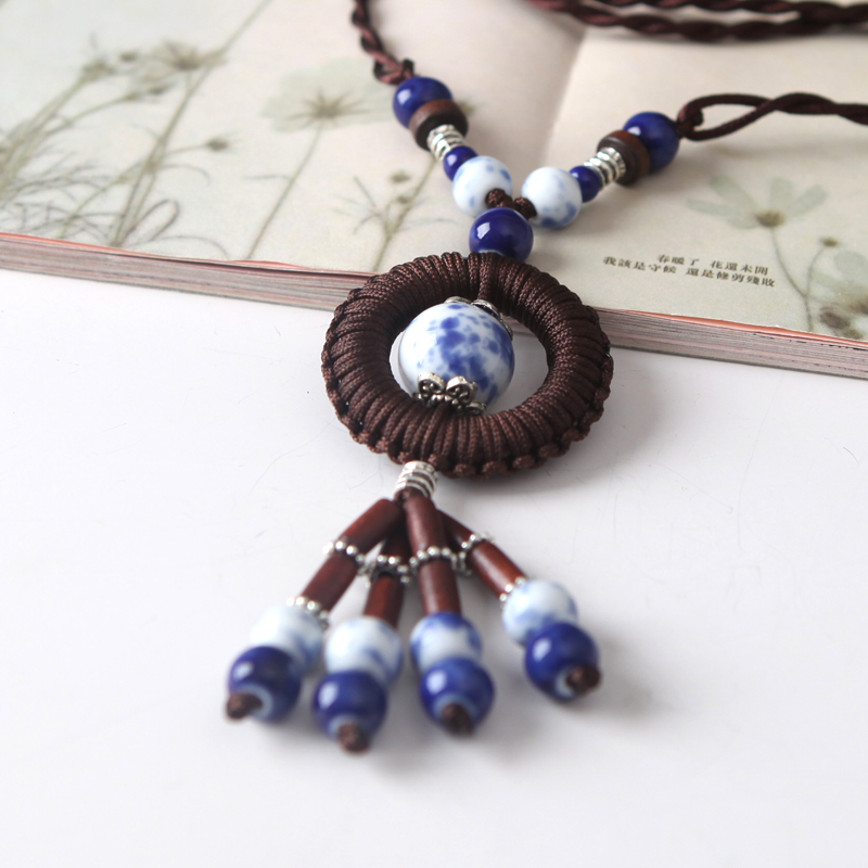 National trend handmade ceramic knitted necklace vintage necklace pendant Hand knitting sweater pendant(China (Mainland))