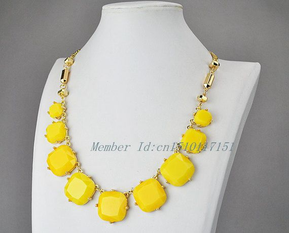 Yellow Bib Necklace, Lemon Resin Beads Necklace<br><br>Aliexpress