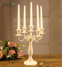 5 arm modern candlesticks Iron candle holders white candle holder home decoration accessories romantic candle holder ZT100(China (Mainland))