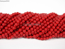 """Natural Red Coral Gems Stones 2mm Smooth Round Spacer Loose Beads 15"""" Strand for Jewelry Making Crafts 5 Strands/Pack"""