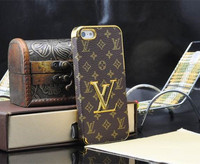 Sale Brand logo Gold Luxury Grid Leather Case Cover For Apple iPhone 5 5S 4 4S Phone Cover Cases For iPhone5 5S 4 4S Wholesale