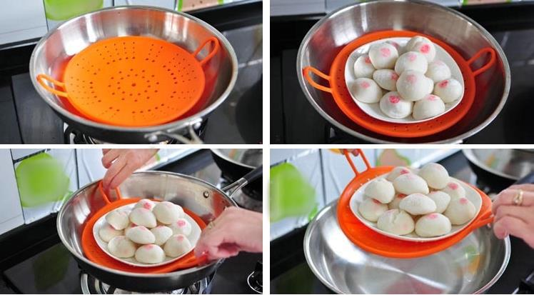 Retail Hot sale New silicone food vegetable steamers recipes for electric microwave steamer hand Kitchen supplies 0(China (Mainland))