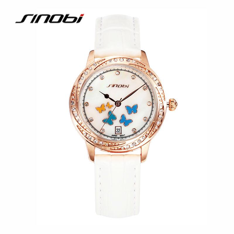 SINOBI Ladies Luxury White Wrist Quartz-watch Women Brand Leather Watches with Diamond Waterproof Wristwatches Relogio Feminino<br><br>Aliexpress