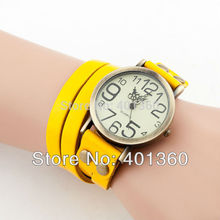 2015 New Cow leather Bracelet Watches Wrap Winding Ladies Women s Vintage Wrist watches