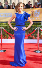 Royal Blue Celebrity Dress Cap Sleeve Evening Scoop Neck Sheath Women's vestidos famosos Oscar Gown