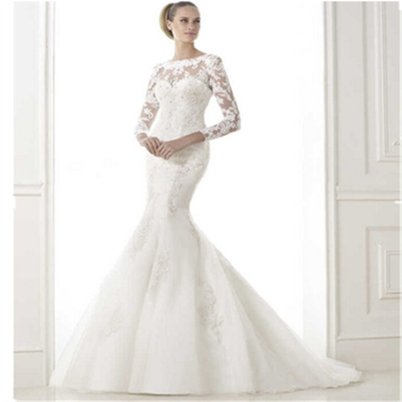 2016 new arrival mermaid wedding dress with detachable for Wedding dress detachable sleeves