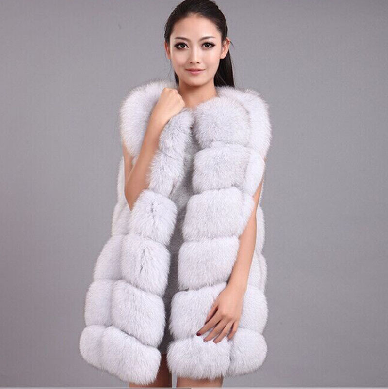 Real Natural Fox Fur Vest Waistcoats Long Genuine Fur Garment Outerwear Coats for Women BF-V0061(China (Mainland))