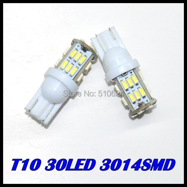 Free Shipping + Wholesale + Car Led Light+ 100pcs/lot + T10 W5W 168 194 30led 3014 SMD LED Bulb Lamp White Color<br><br>Aliexpress