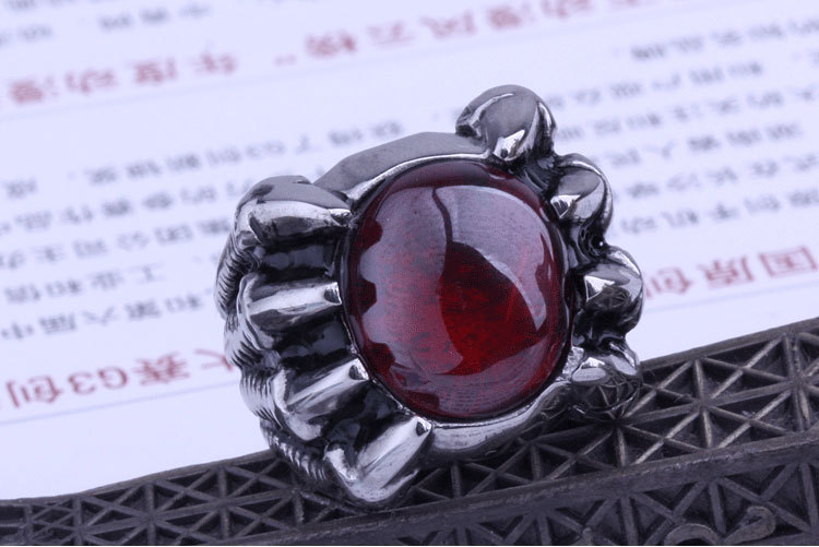 10pcs/lot certified products Eight claws stainless steel ring men's red agate dragon u.s size 8-11 cool gift(China (Mainland))