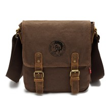 Geniue Leather + Canvas Crossbody Bag High Quality Coffee Messenger Bags Retro Shoulder Bags Brand Vintaghe Men Satchel Bag
